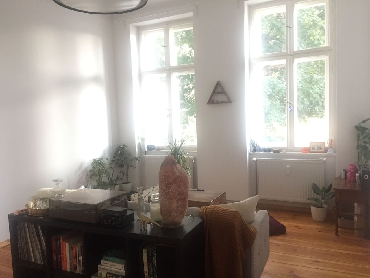 Living room area with big windows