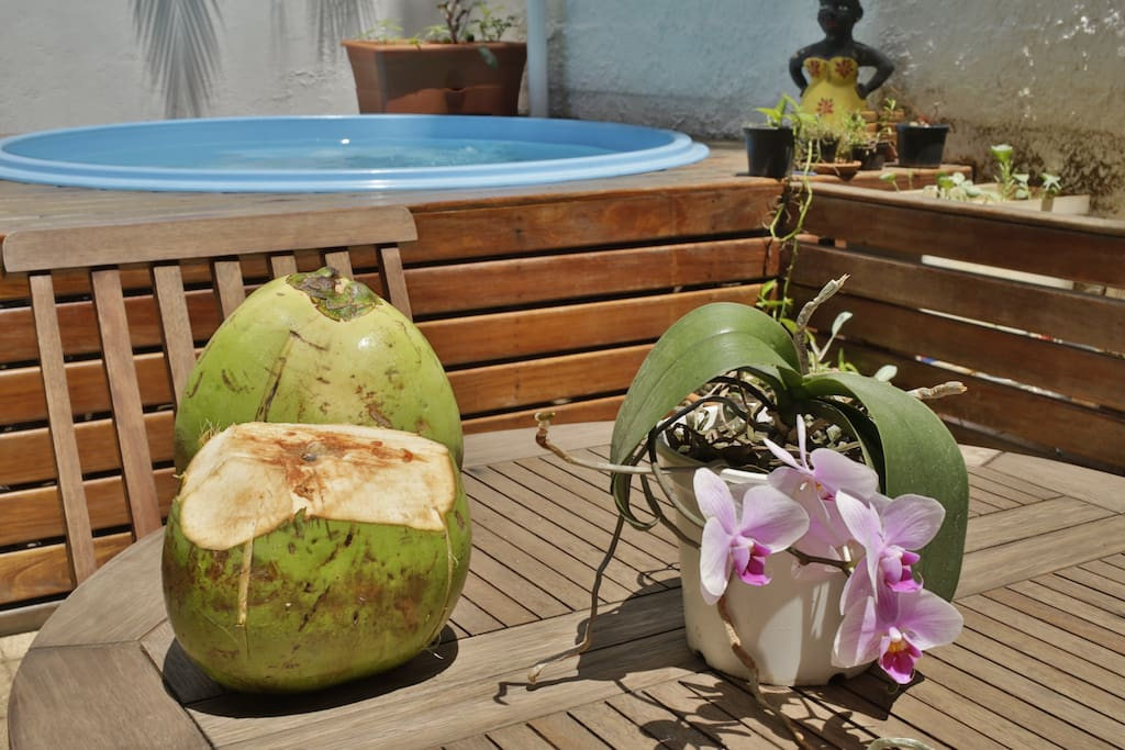 Sip caipirinhas or chilled coconuts in the private garden area.