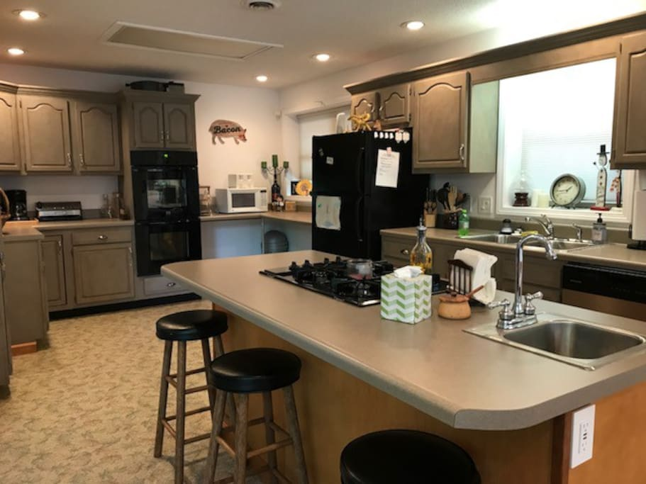 Gas stove top and double wall oven