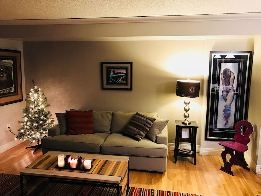 Quiet living room ready for the holiday season