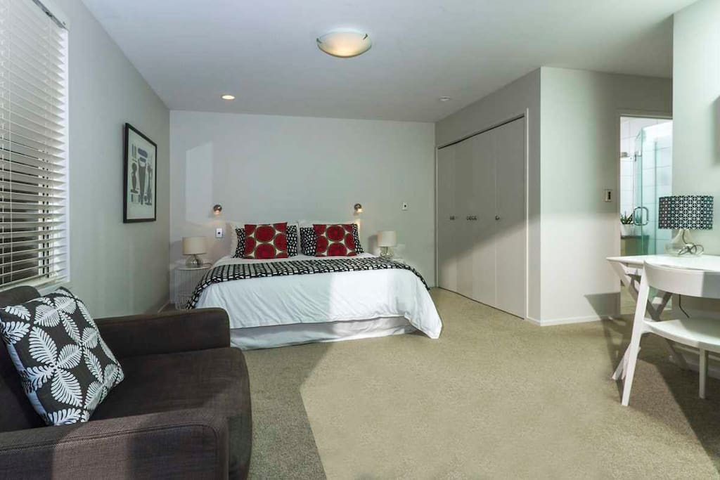 King Size Bed with couch, desk with printer, tea, coffee,toaster, fridge facilities.