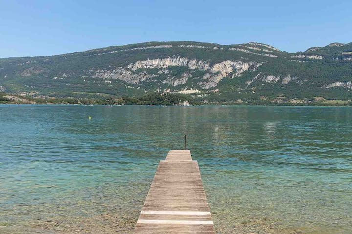 House feet in the water on Lake Bourget