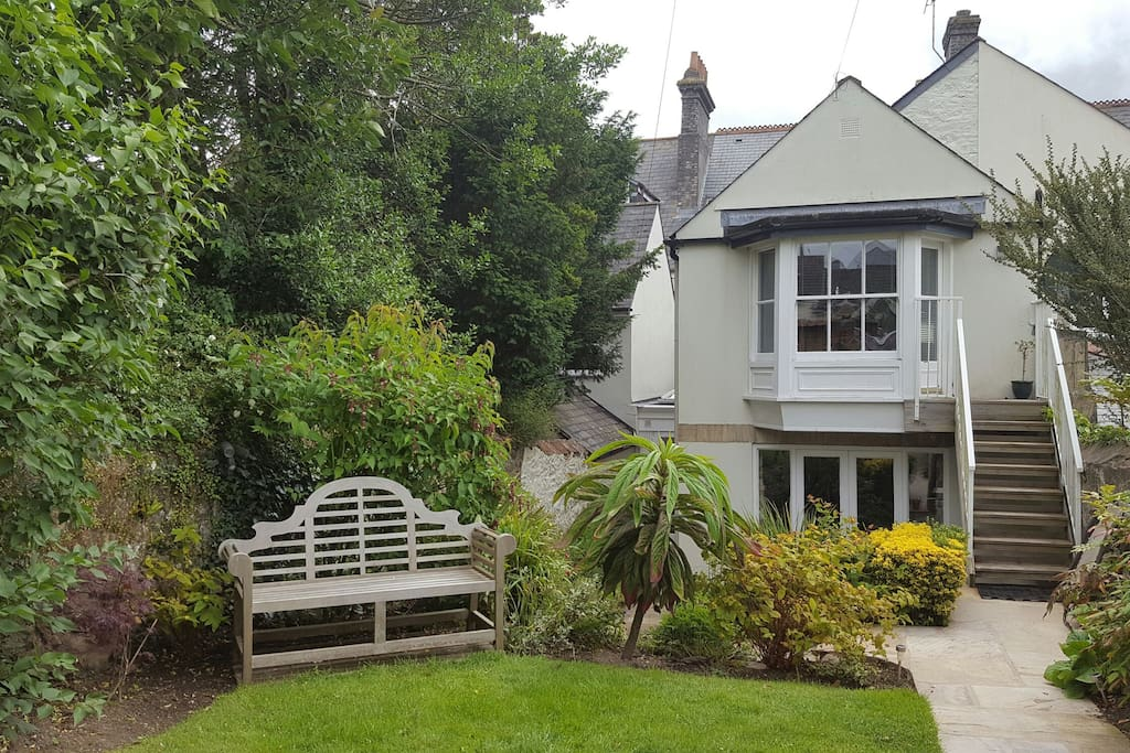 Garden access to apartment shown here with bay window 1st floor