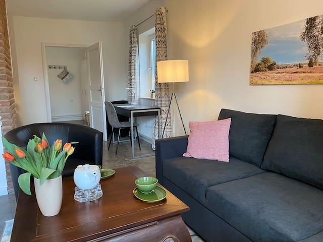 Huus Utspann Wohnzimmer mit Schlafsofa und Schreibtisch