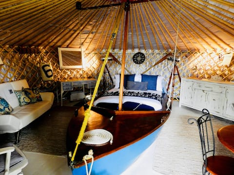 'PEARL' a luxury waterside yurt with harbour views