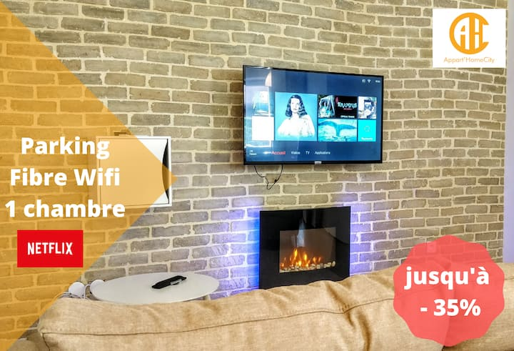 ★ Appart'HomeCity | Rouen Grand Voile ★ 1 Chambre ★ Parking ★ Fibre Wifi ★ Netflix