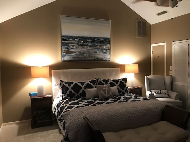 King bed in master bedroom, private and with en-suite master bath