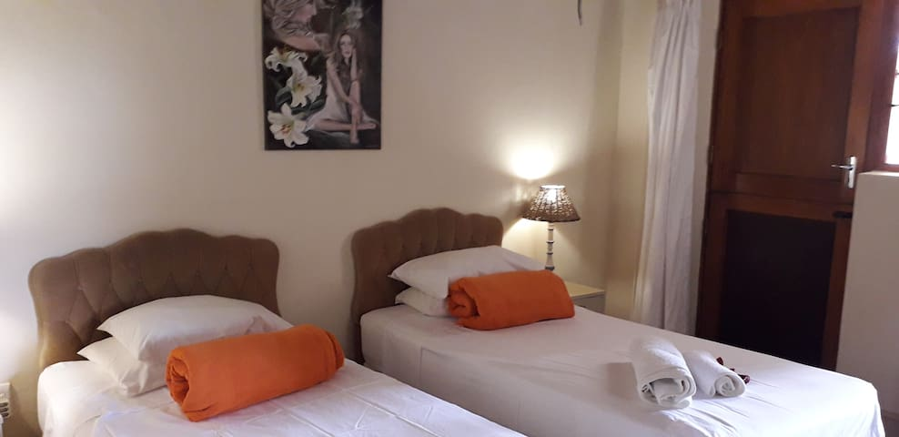 Room 2 with single beds, en-suite., private entrance into garden