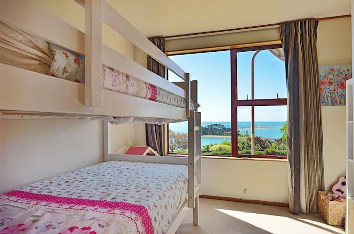 Bedroom 3 with King Single Bunk Beds, Desk, Wardrobe & Views