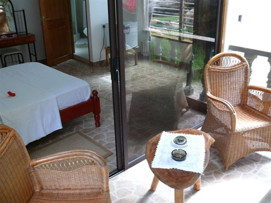 A private terrace at the back of the room