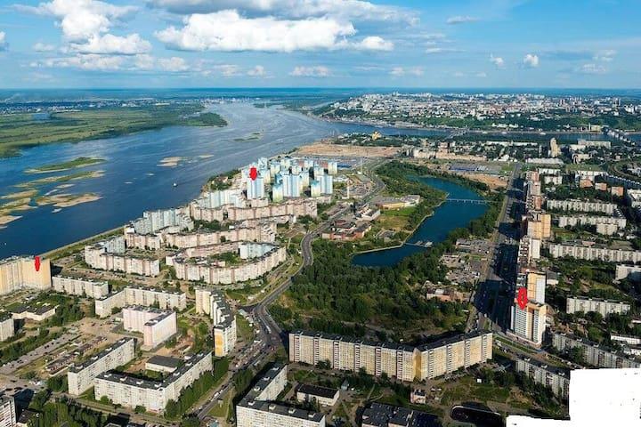 Стильные апартаменты на Волжской набережной, д.12 - Nizhnij Novgorod - Lakás