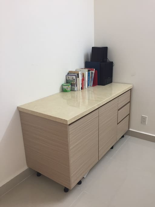 The desk in the bedroom you can work on it
