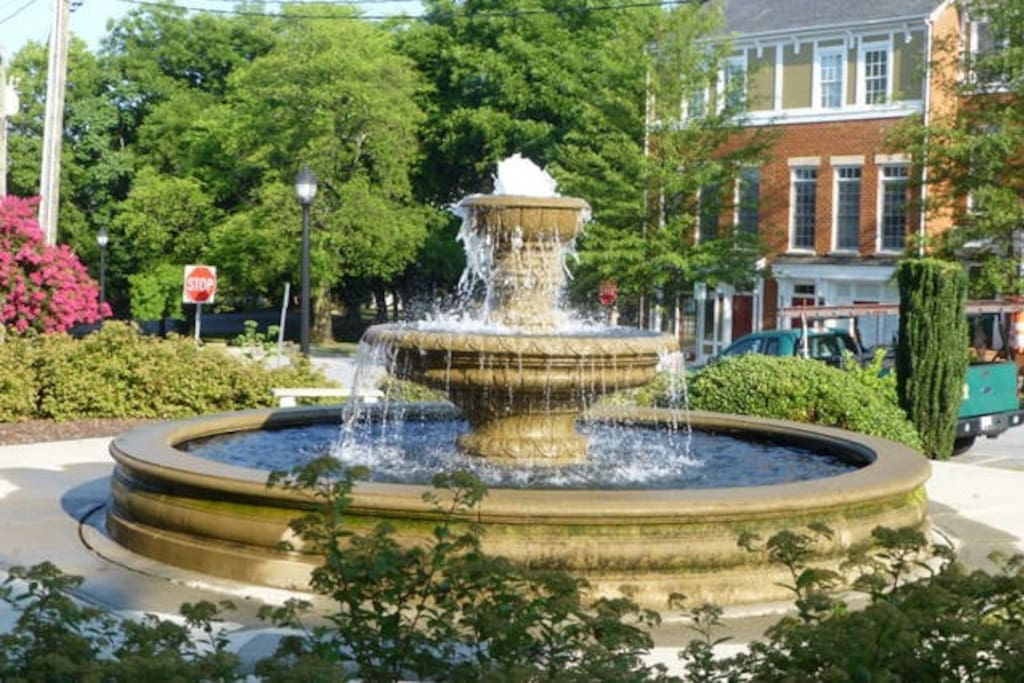 Southside Square Fountain Park is across the street