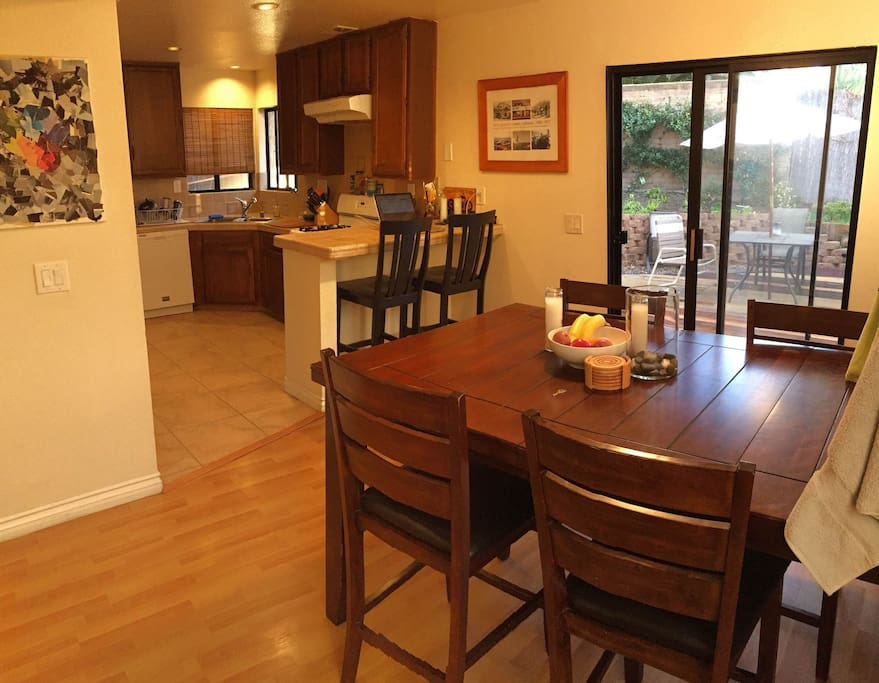 Full use of the kitchen and dining space, and side deck.