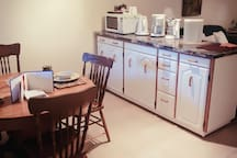 eating and kitchen area