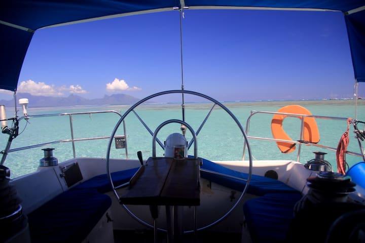 Dans l'eau turquoise du lagon de Tahiti à Punaauia