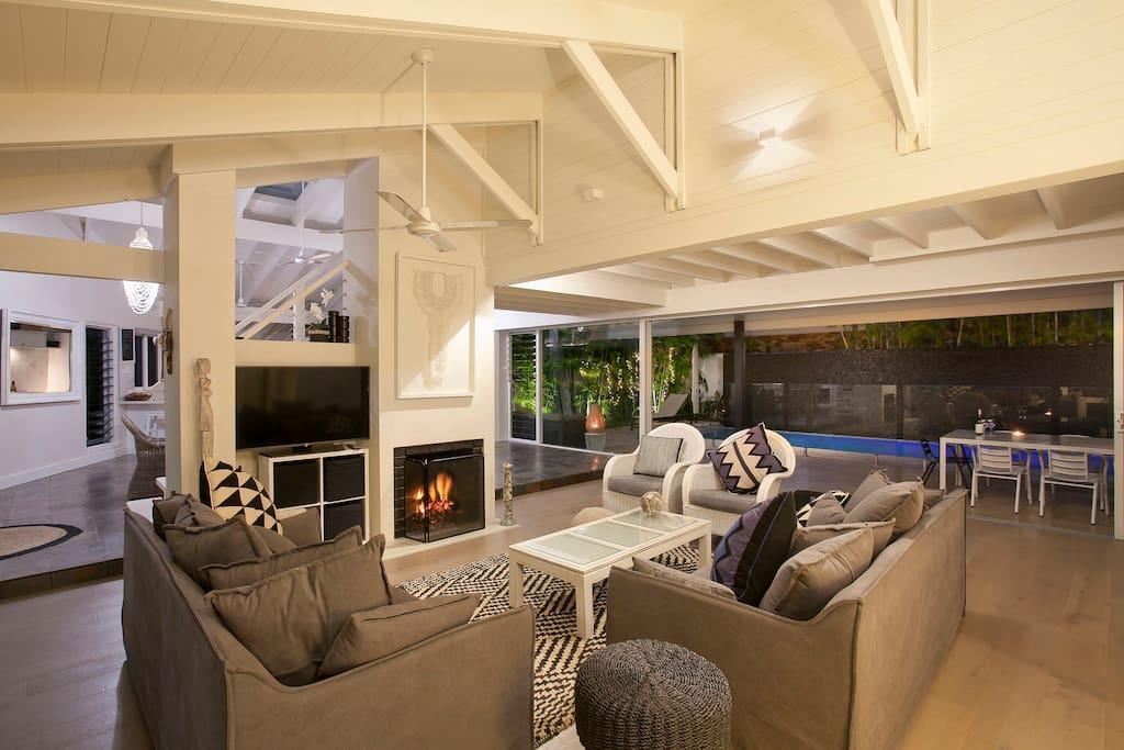 A fireplace makes Winter days Summer