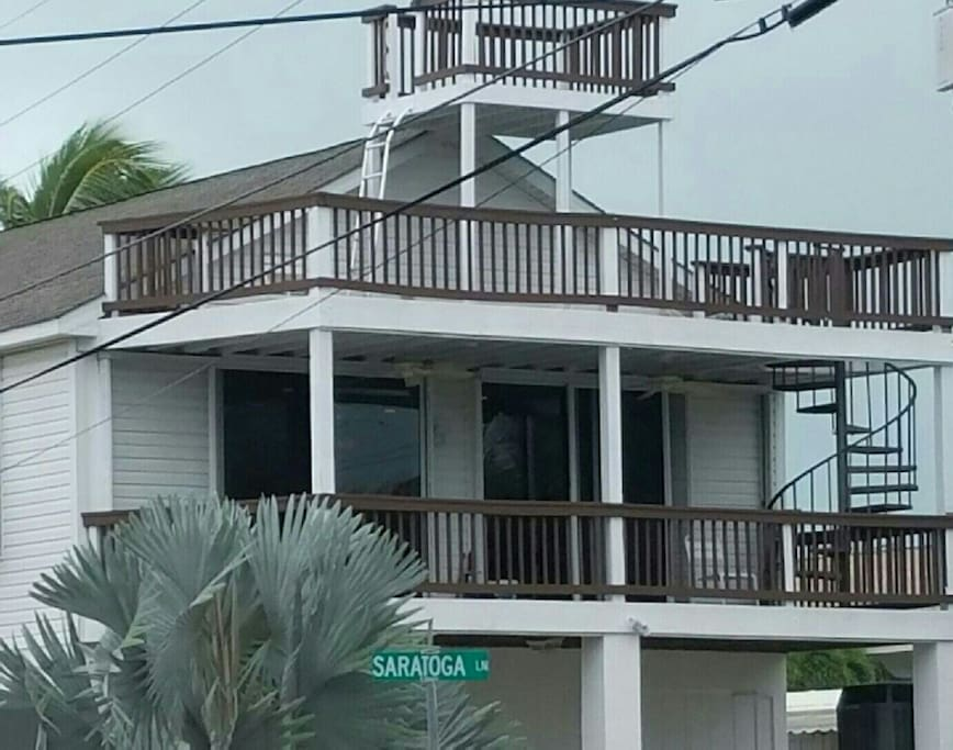 Front of the house, spacious  balconies to enjoy the ocean breeze