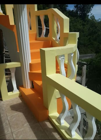 Take a walk on these steps to appreciate the 360 view of the area. It is located on the first floor of the property