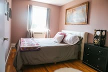 Lush queen bed, AC in unit, lots of closet and dresser space for storage
