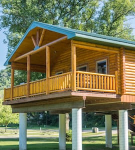 Log Cabin Along Scenic River