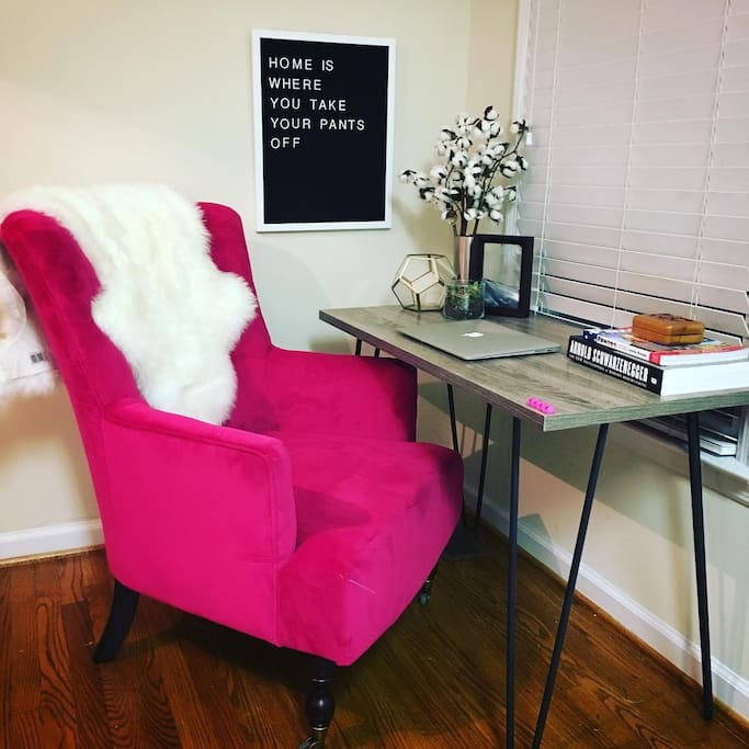 This chair is amazing! I know it looks girly but it's seriously so fun and comfy!