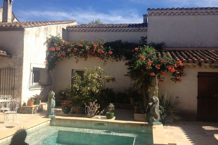 Beautiful Mas near Arles with private pool, romantic patio and yoga studio.