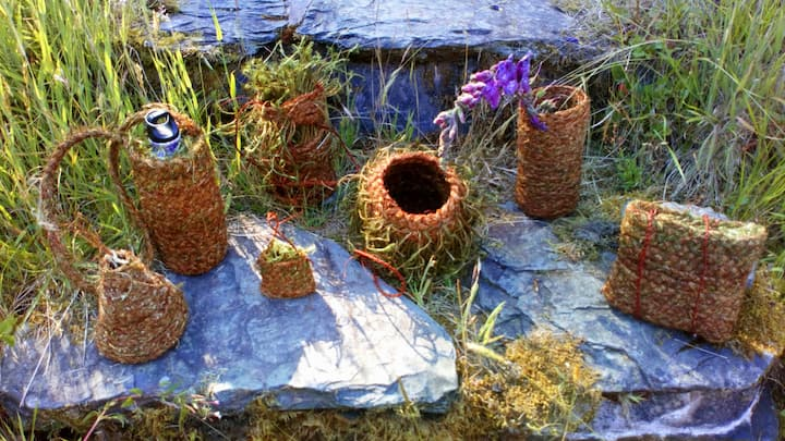 moss baskets made by students