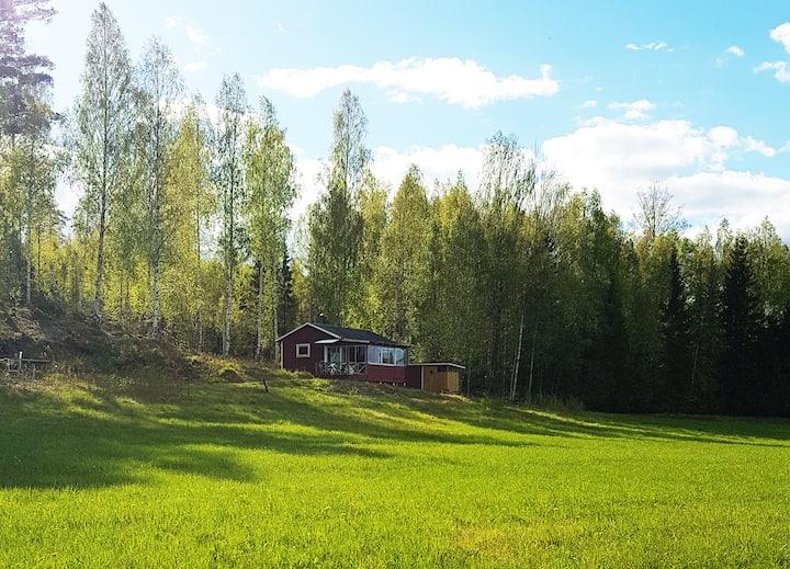 Sjönära stuga i enskilt läge med fantastisk utsikt