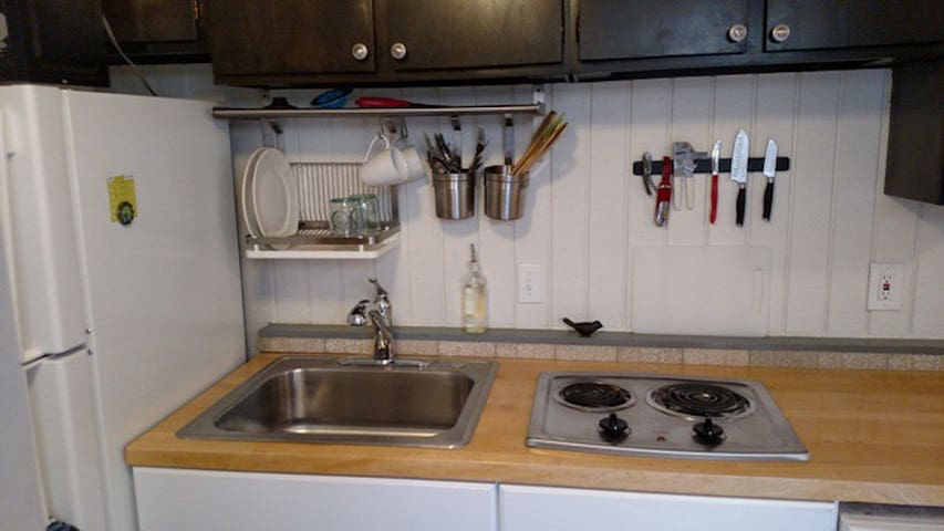 Full size Fridge, sweet large sink plus 2 burner stove.. No Oven!