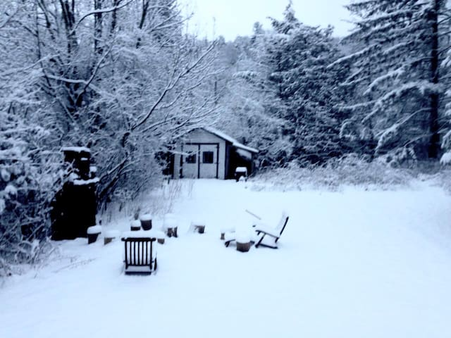 Backyard of Bear Cottage in the winter. (This is a registered STR of Ulster county-Certificate of Authority #9167.)