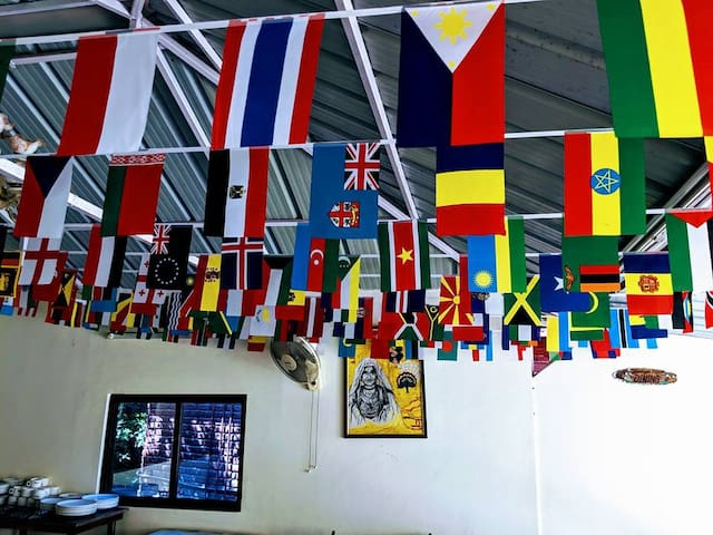 International look in the dining area