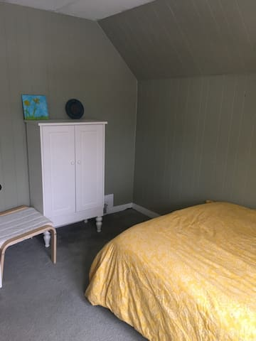 Room contains a closet and an armoire to store your gear. Bedroom door locks.