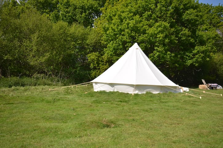 Bell Tent in Private field on farm