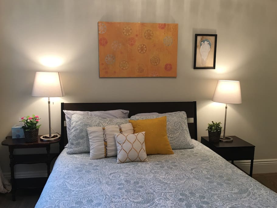 Stylish and trendy bedroom in a new, totally-refurbished home. Light and bright!