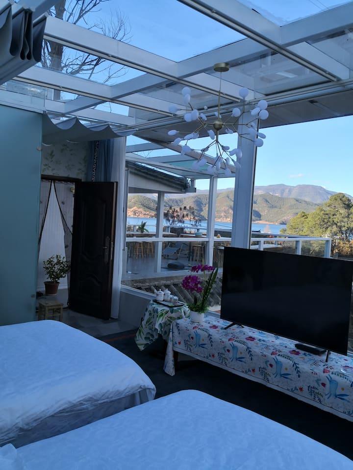 浪漫全景星空湖景房  躺在床上看湖景 数星星 赏月亮 (浪放)免费早餐可停车