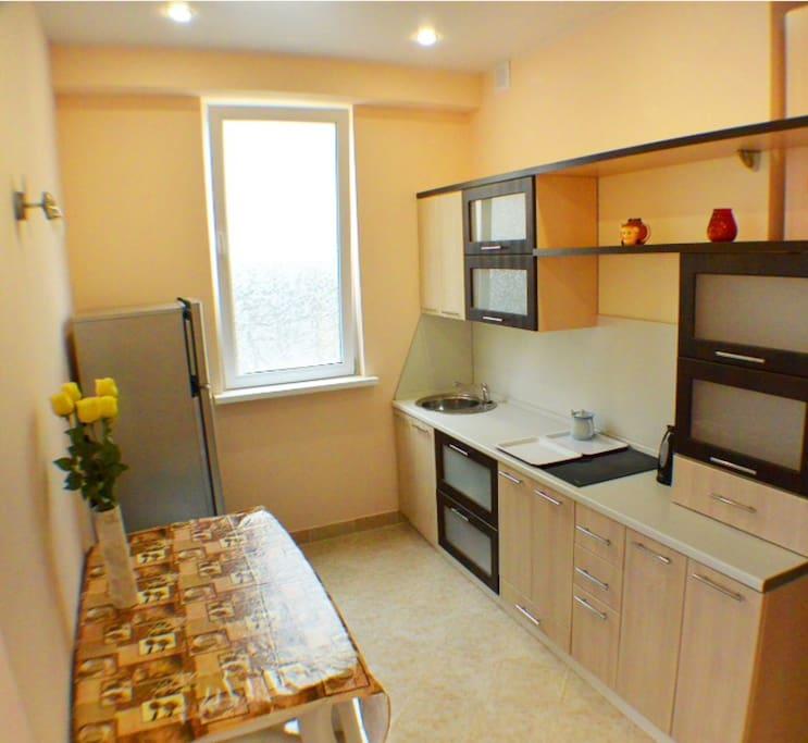 Кухня. Есть холодильник двухкамерный, микроволновка, электропечь, электрочайник, посуда для приготовления пищи. Стол и 4 стула.