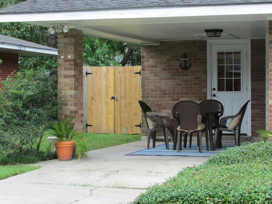 Outdoor seating in front of home to relax and visit.
