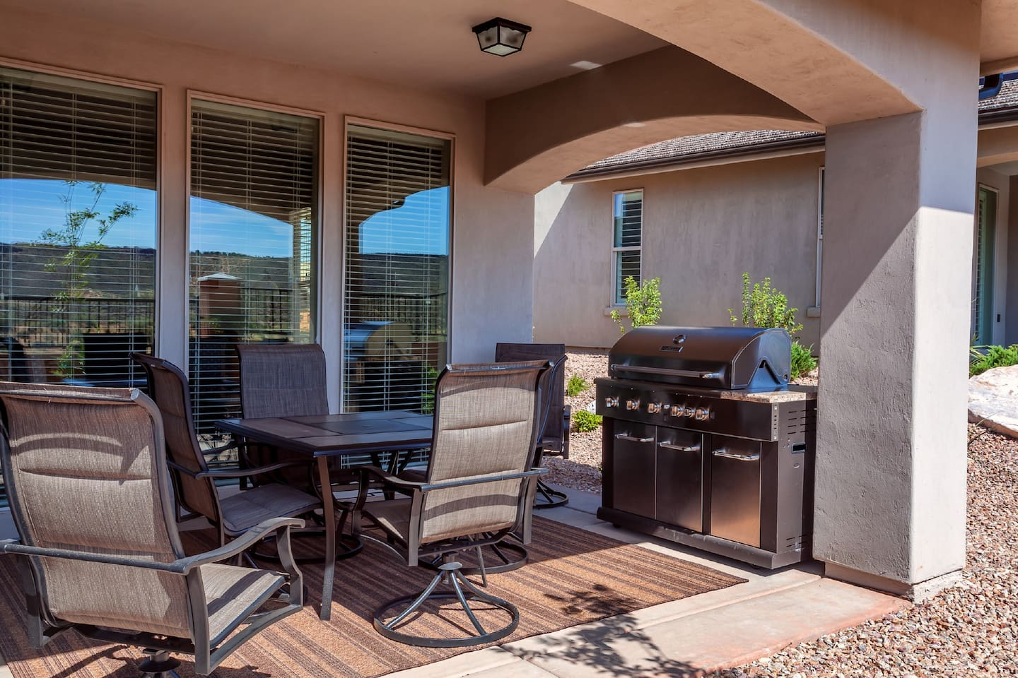 Backyard grill and patio seating