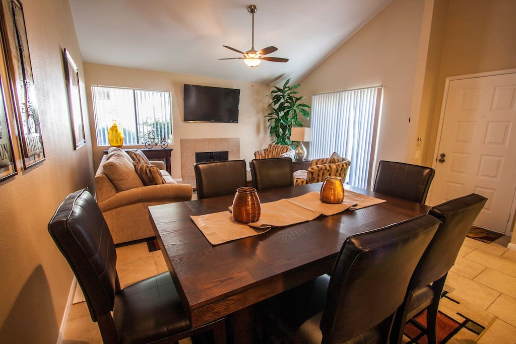 Dining area is welcoming, modern, and open - vaulted ceilings makes it feel open...