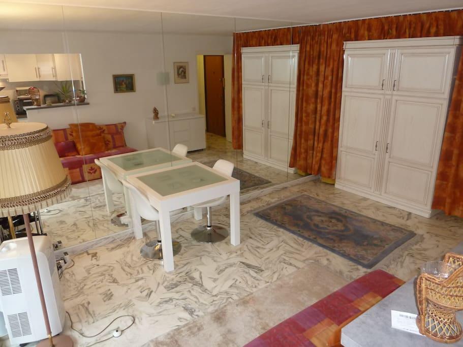Séjour avec lit abattable/Living room with Murphy bed