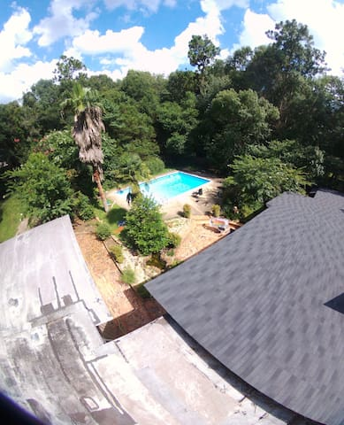 A spacious enjoyable private interior to enjoy with a BIG pool (22000 gallons) and palm trees. Perfect for a sunny day.