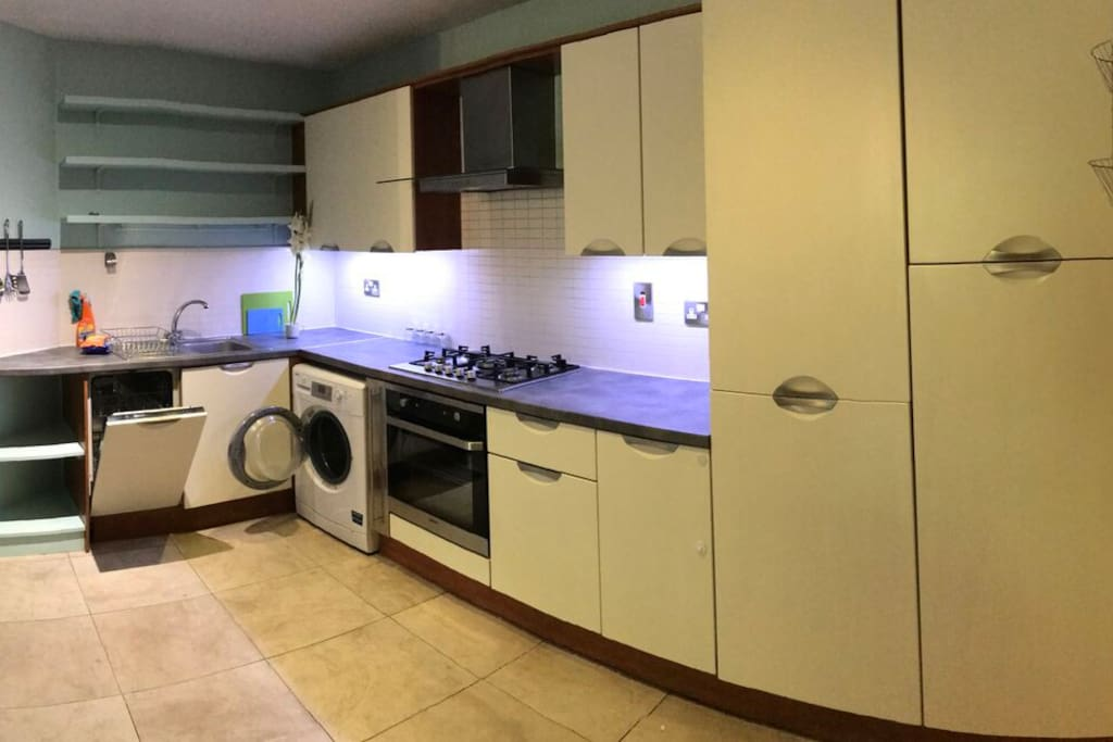 Built in kitchen, dishwasher, washer/dryer (laundry) gas hob and electric oven.