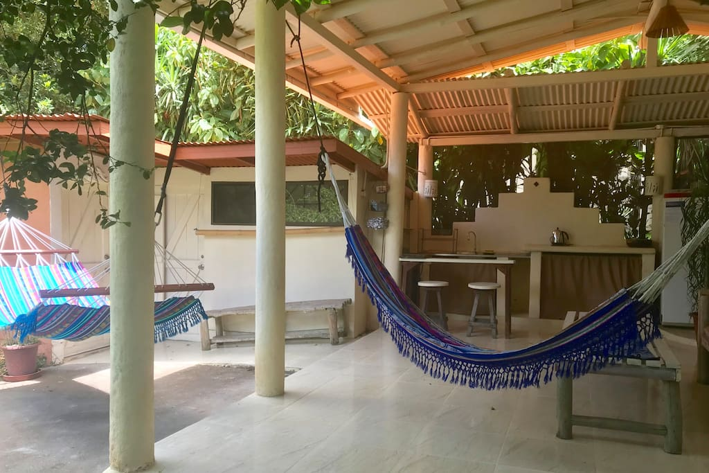 Guest kitchen and hammock area