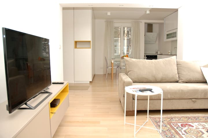 The living room is an open space in common with the kitchen