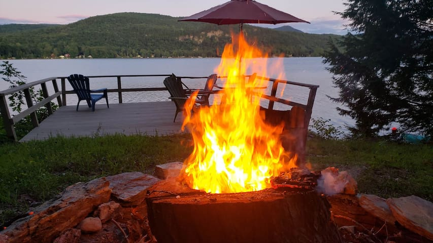 There is a fire pit at the lower deck area with plenty of space for everyone and their smores