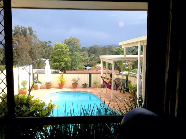 The view from your private granny flat overlooking the pool.