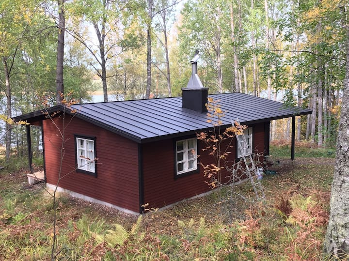 Spacious cabin in the quiet forest near sea
