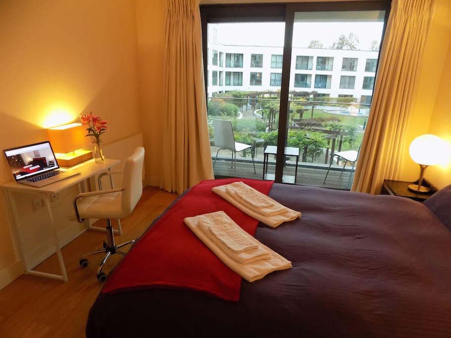 Luxury ensuite bedroom sauna steam room gym flats