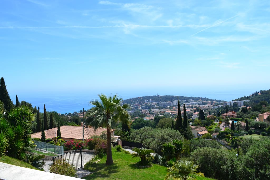 Overlooking the mediterranean, Monaco. Nestled beautiful sunny gardens, outdoor surrounding the property.